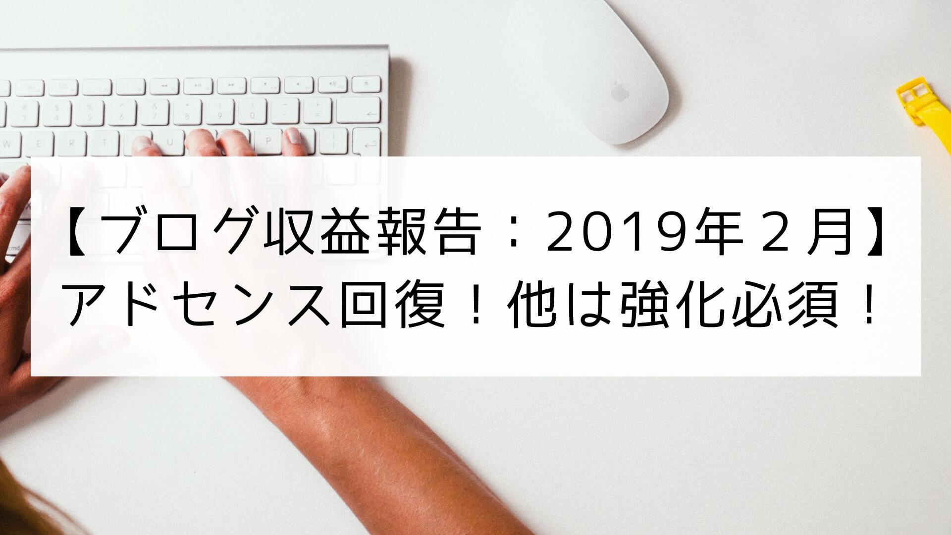 【ブログ(副業)収益報告】2019年2月はアドセンス回復!AmazonやASPの強化必須